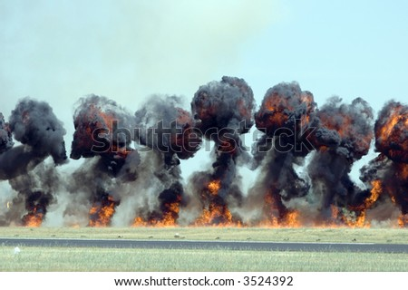 Explosion with smoke - stock photo