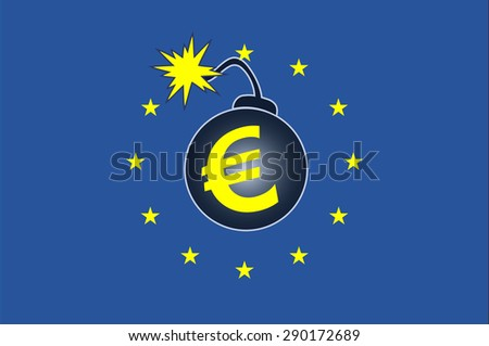Explosive Euro Crisis. Concept sign of the current debt crisis within the Euro Countries  - stock photo