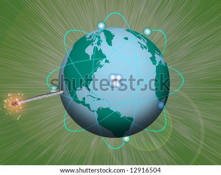 Explosive Nuclear Earth - stock photo