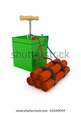 Explosive over white. 3d rendered image - stock photo