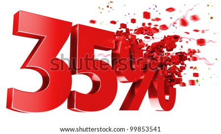 explosive 35 percent off isolated on white background - stock photo