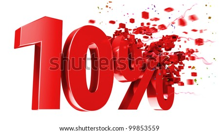 explosive 10 percent off isolated on white background - stock photo
