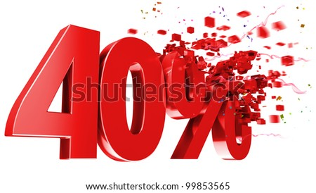 explosive 40 percent off isolated on white background - stock photo