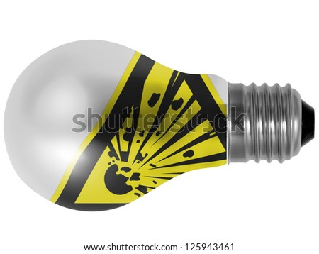 Explosive sign drawn on painted on lightbulb