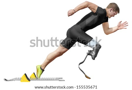 Explosive start of athlete with handicap. Isolated version - stock photo