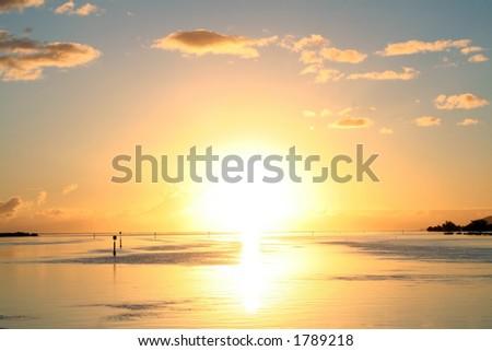 Explosive tropical sunrise - stock photo