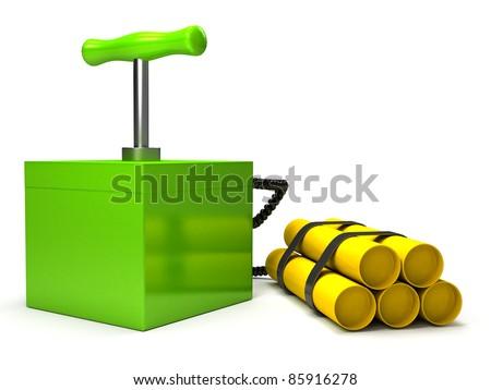 Explosive with detonator over white - stock photo