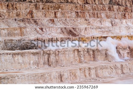 Explosive works on a  mine  - stock photo