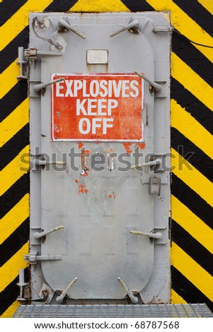 Explosives Blast Door with Warning Sign Keep Out - stock photo