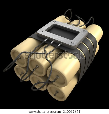 Explosives with alarm clock detonator isolated on black background. High resolution 3D image