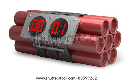 Explosives with alarm clock detonator isolated on white background High resolution 3D image