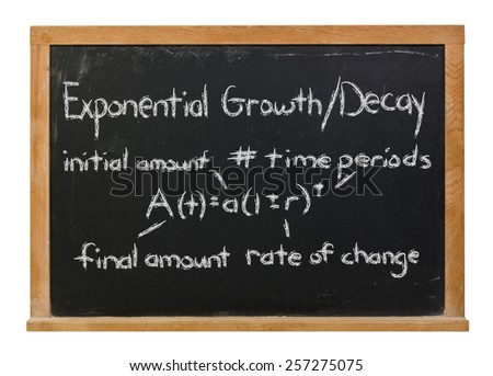 Exponential growth and decay written in white chalk on a black chalkboard isolated on white - stock photo