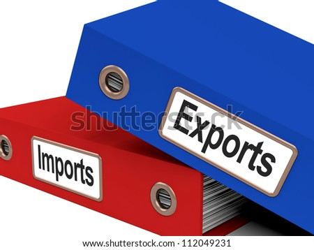 Export And Import Files Show International Trade Or Global Commerce - stock photo