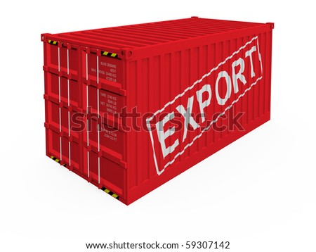 Export container isolated on white - stock photo