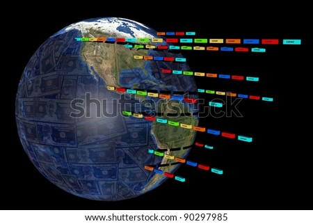 Export containers outwards from Earth Dollars globe illustration - stock photo