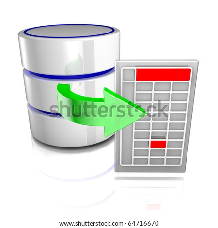 Export data from a database - stock photo