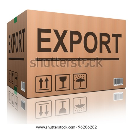 export package or exporting cargo for global and international trade worldwide business cardboard box with text and reflection exportation logistics - stock photo