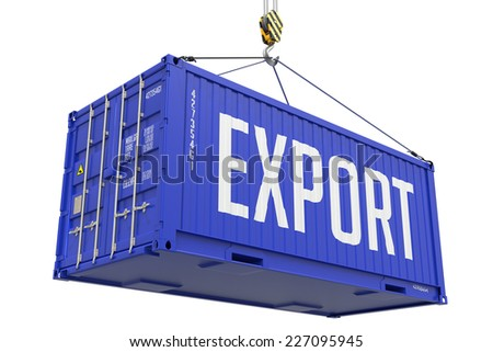 Export - Purple Cargo Container hoisted with hook Isolated on White Background. - stock photo