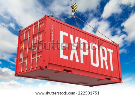 Export - Red Cargo Container hoisted with hook on Blue Sky Background. - stock photo