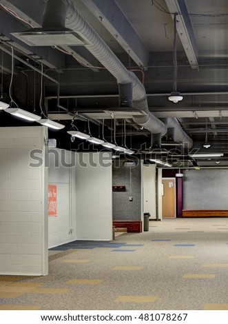 Exposed Ceiling Duct Work Modern High Stock Photo Royalty