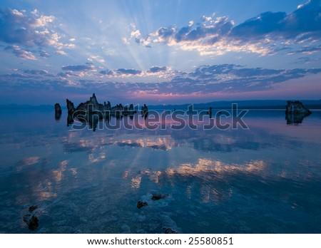 Exposed tufa towers of Mono Lake, California - stock photo