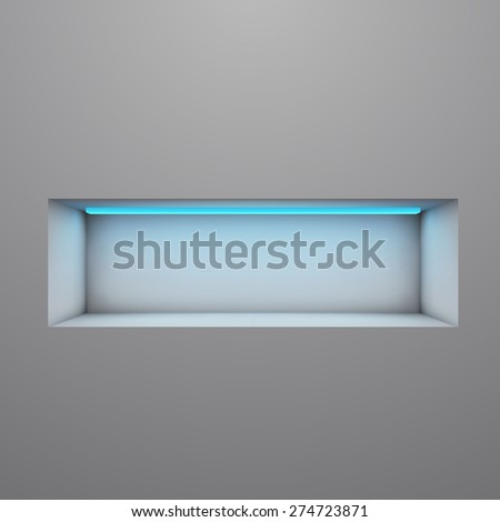 Exposition shelf illuminated with neon light illustration. - stock photo