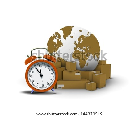 Express delivery. Clock with package and globe - stock photo