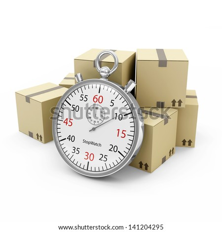 Express Delivery Concept. Cardboard Boxes with a Stopwatch isolated on white background - stock photo