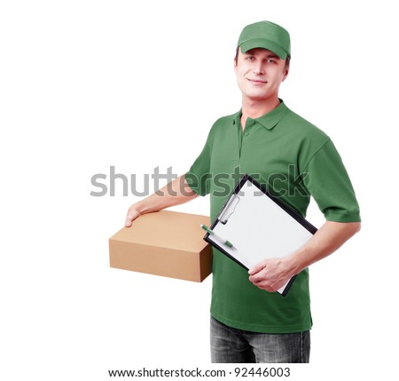 Express delivery courier in green uniform - stock photo