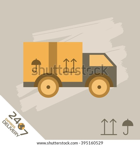 Express Delivery Raster Truck. Elements of Trucking . Fast Shipping Service Van. Icon Delivery raster. Express Delivery of Goods. Delivery Service, Cargo Delivery. - stock photo