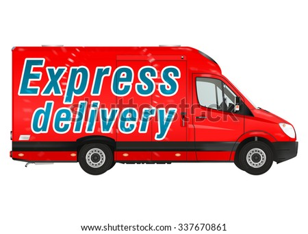 Express delivery. Red courier van on the white background. Raster illustration. - stock photo