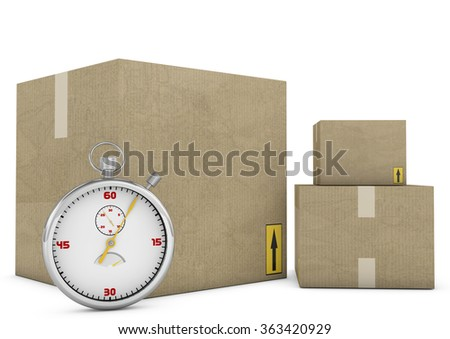 Express delivery. Stopwatch and package on white background. 3d - stock photo