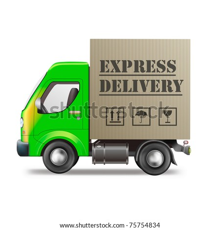 express delivery truck fast quick and urgent package shipping from order in online web shop cardboard box transportation
