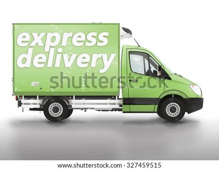 Express delivery. Van on the white background. Raster illustration.