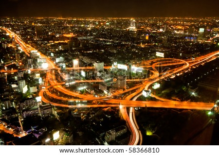 Express highway in the heart of Bangkok - stock photo