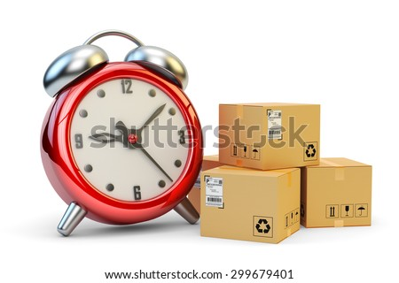Express, just in time and high speed packages delivery concept, cardboard boxes and red alarm clock isolated on white background - stock photo