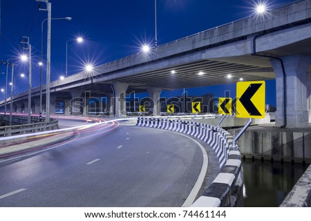 express way at night time - stock photo