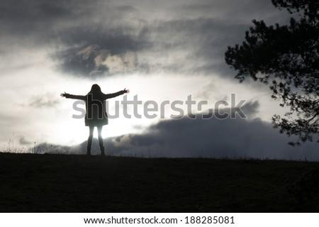 expressing freedom - stock photo