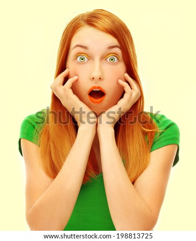Expression. Face of bright red hair girl - stock photo