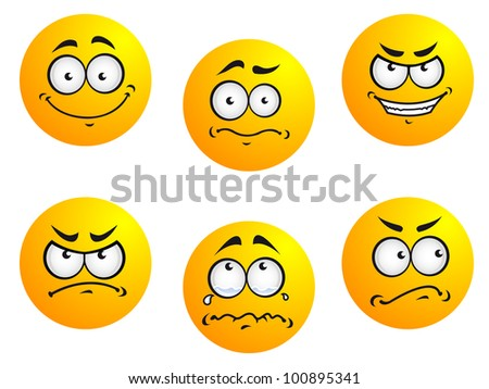 Expression icons and smiles. Vector version also available in gallery - stock photo