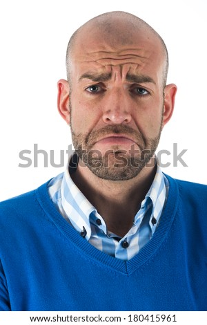 Expression of a man over white background - stock photo