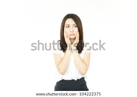 Expression of business woman - stock photo