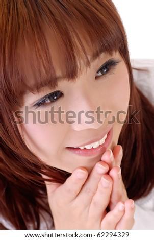 Expression of joy, closeup portrait of Asian businesswoman. - stock photo