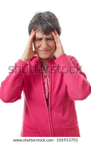 expression of lady with headache on white background - stock photo