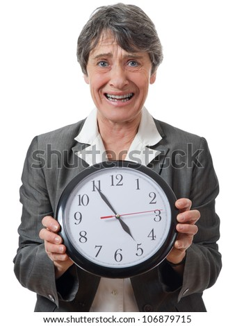 expression of late lady holding a faceclock on white background - stock photo