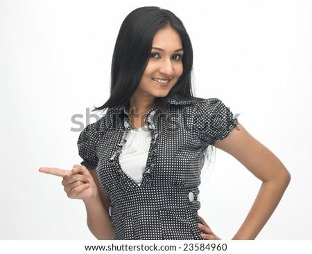 Expression of Teenage indian girl saying something - stock photo