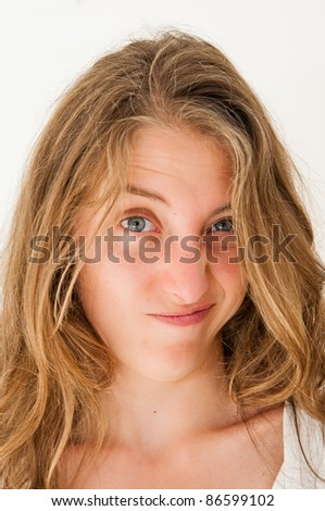 expression-Young woman making a funny grimace
