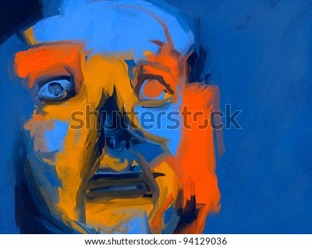expressionist style digital painting of a human face with a restless expression - stock photo