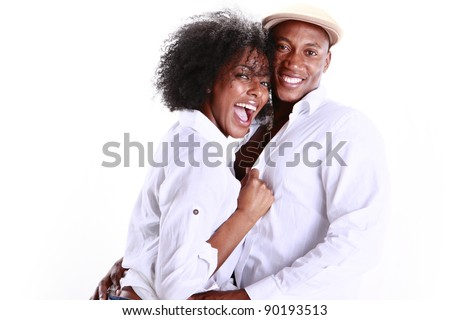 Expressions of an African American couple in love - stock photo
