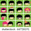 Expressions of boy's face - stock vector